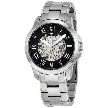 Fossil Grant Black Skeleton Dial Automatic Mens Watch ME3103