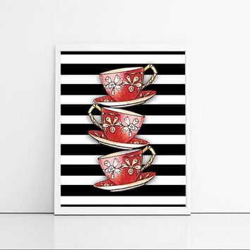 Vintage teacup digital print, red and black wall decor, teacups wall hanging, kitchen wall decor art print.