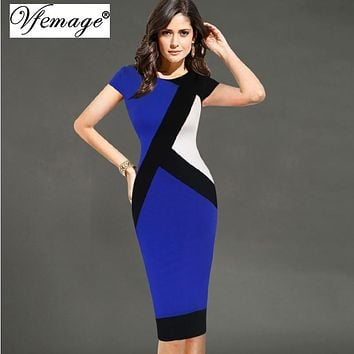 Vfemage Womens Elegant Optical Illusion Colorblock Contrast Modest Slim Work Business Casual Party Sheath Pencil Dress 4725