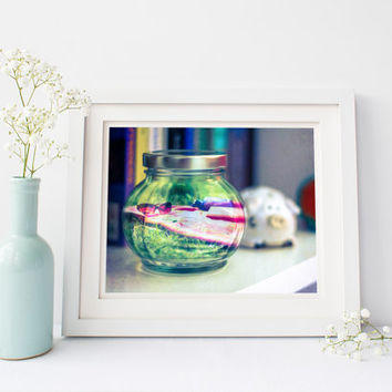 Digital download, surreal print, summer in a jar, fine art photography, bottle up summer, grass, unique eclectic wall art, instant printable