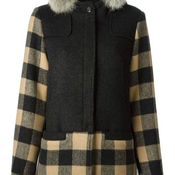 Woolrich trimmed hoodie checked parka