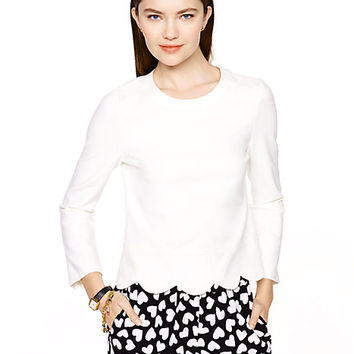Kate Spade Ponte Scallop Crop Top Cream