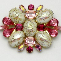 DiMARTINO Originals Pink Fuschia Stippled Cabochon Brooch Pin