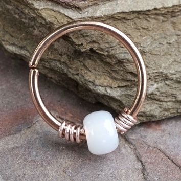 16g 18g or 20 Gauge Rose Gold Beaded White Nose Hoop Ring or Helix Tragus Cartilage Hoop Earring
