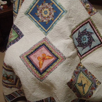 Geometric King or Queen Size Bed Quilt, Patchwork Traditional Quilt, Butterflies and Pinwheels