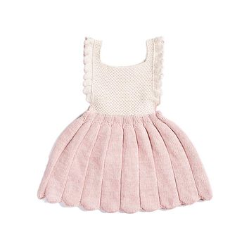 Ins Baby Girls Dress 100% Cotton Knitted crochet Princess baby Dress Summer Girls Clothes Infant Dresses Kids Straps Dress