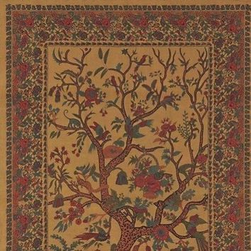 Handmade 100% Cotton Tree of Life Tapestry Tablecloth Bedspread Gold Twin Full Queen King