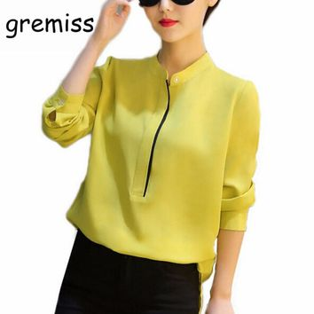 Gremiss Chiffon Long Sleeve Women Blouses Bodysuit Office work Slim Shirts Ladies Simple Formal Shirt Classic Tops