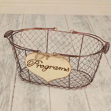 "Large Rustic Wedding ""Programs"" Sign WITH WIRE BASKET for Your Rustic, Country, Shabby Chic Wedding"