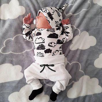 Fashion Toddler Tops Baby Boy Clouds Print Long Pants Baby Girl Hat Clothes Kids Autumn Outfits Cute Infant 3pcs Pajamas Set