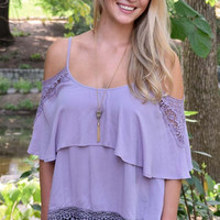 With A Little Luck Lace Fringe Tank Top - Lavendar
