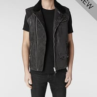 Mens Raven Sleeveless Leather Biker Jacket (Anthracite) | ALLSAINTS.com