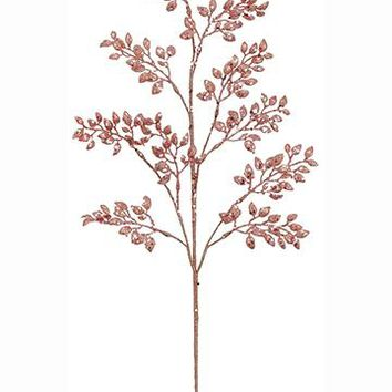 """Artificial Glittered Holiday Leaves in Pink Gold - 27"""" Tall"""