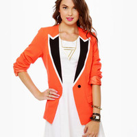 Cute Coral Blazer - Orange Blazer - $57.00