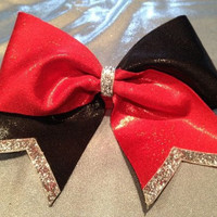 Red, Black, & Silver Cheer Bow