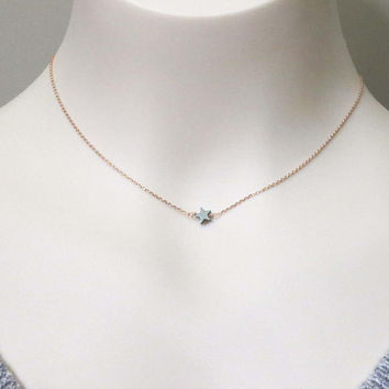 Tiny, Black, Hematite, Star, Gold, Silver, Rose gold, Chain, Necklace, Lovers, Friends, Mom, Sister, Gift
