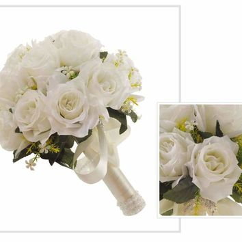 Wedding Bouquet White Rose Crystal Artificial Silk Bridal Bouquet