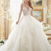 Mori Lee 2887 Beaded Bodice Flounced Tulle Ball Gown Wedding Dress – Off White by Bridal Expressions