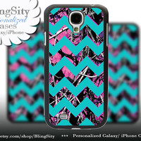 Camo Aqua Chevron Samsung Galaxy S4 S5 case Hot Pink Purple Galaxy S3 Case / Note 2 3 Case real tree Monogram Personalized  Country Girl