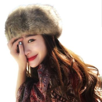 Women Hats Lady Russian Tick Fluffy Fox Fur Hat Headband Winter Earwarmer Ski Hat Female Hats For