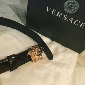 Authentic Versace Black Patent Leather 3D Medusa Palazzo Belt for Women 85
