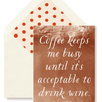 Coffee Keeps Me Busy Greeting Card, Single Folded Card or Boxed Set of 8