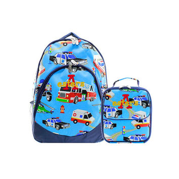 Personalized With Embroidery Large 17.5 Inch Boys Fire Truck and Cop Car School Backpack and Lunch Bag Monogrammed Free