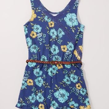 p.s. from Aéropostale Blue Floral Surplice Romper - Girls
