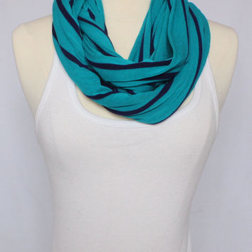 Jersey Knit Infinity Scarf - Turquoise with Navy Blue Stripes