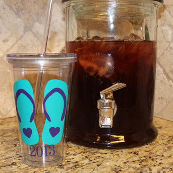 Flip Flop Tumblers with Year perfect for Beach Weddings, Spring Break or Road Trip Acrylic Tumbler Cup with Straw