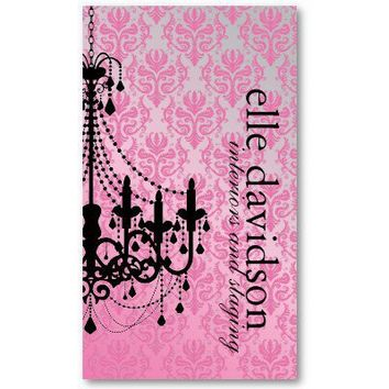 Classy Damask Chandelier Business Card from Zazzle.com