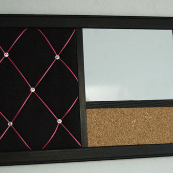 Framed  Customized French Memo Board, Magnetic Whiteboard & Corkboard Bulletin Board Dorm Room Organizer