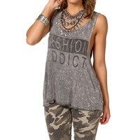 Gray Fashion Addict Tank