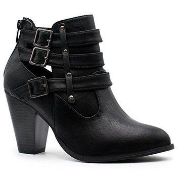 Forever Women's Buckle Strap Block Heel Ankle Booties Premier Black