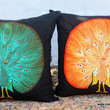 Peacock Pillows In Sri Lankan Hand Drawn Batik Teal Or Tangerine
