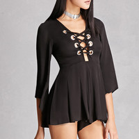 Selfie Leslie Lace-Up Romper