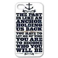 Apple iPhone 4 4G 4S Anchor Naval Quote Design WHITE Sides Slim HARD Case Skin Cover Protector Accessory Vintage Retro Unique AT&T Sprint Verizon Virgin Mobile