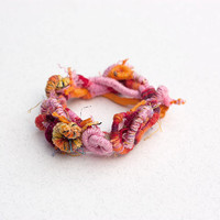 Colorful boho bracelet, fiber art statement jewelry, pink orange, OOAK
