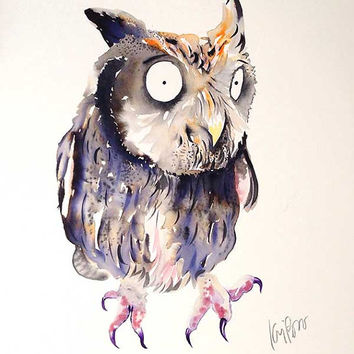 Owl painting. painting. watercolor painting. owl art. animal art. illustration