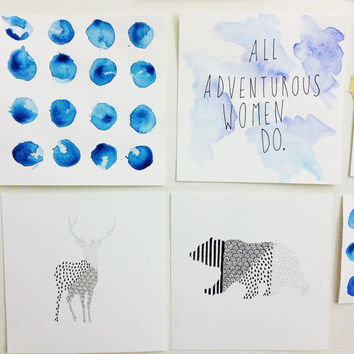 GIRLS Lena Dunham Quote / all adventurous women do / watercolor