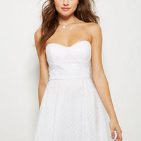 Strapless Eyelet Dress - White