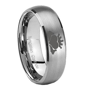 8mm Claddagh Design Dome Brushed Tungsten Carbide Wedding Engagement Ring