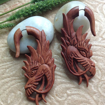 "Fake Gauge Earrings, ""Terra Cotta"", Dragon,  Natural, Saba Wood, Handcrafted, Tribal"