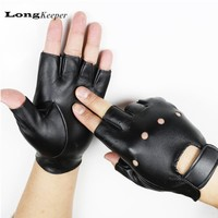 LongKeeper Men's Dance Gloves Fingerless Leather Gloves for Party Show Sport Fitness Luvas for Men Black Gold Silver G131