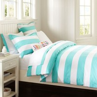Cottage Stripe Duvet Cover + Sham, Pool
