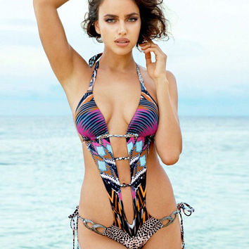 Halter Plunge Hollow Strappy Cut Out Backless Monokini Swimwear