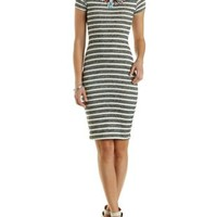 Heather Gray Combo Striped French Terry Midi Dress by Charlotte Russe