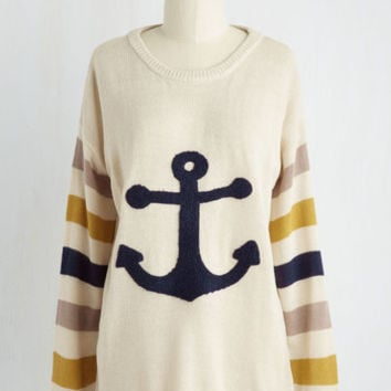 Nautical Mid-length Long Sleeve Aweigh Message Sweater