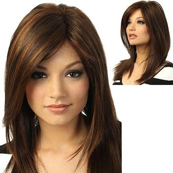 Stylish Women Dark Brown Long Straight Partial Bangs Full Wig Heat Resistant Party Hair (Color: Dark brown)