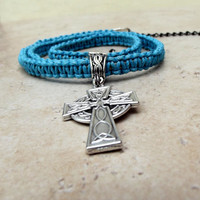 Turquoise Blue Men's Necklace:  Celtic Cross Macrame Cord Unisex Jewelry, Father's Day